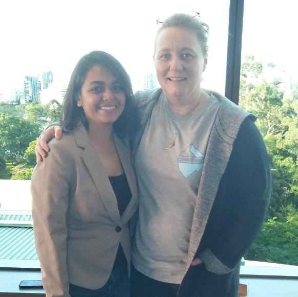 Runali standing with Qld Chief Entrepreneur Leanne Kemp