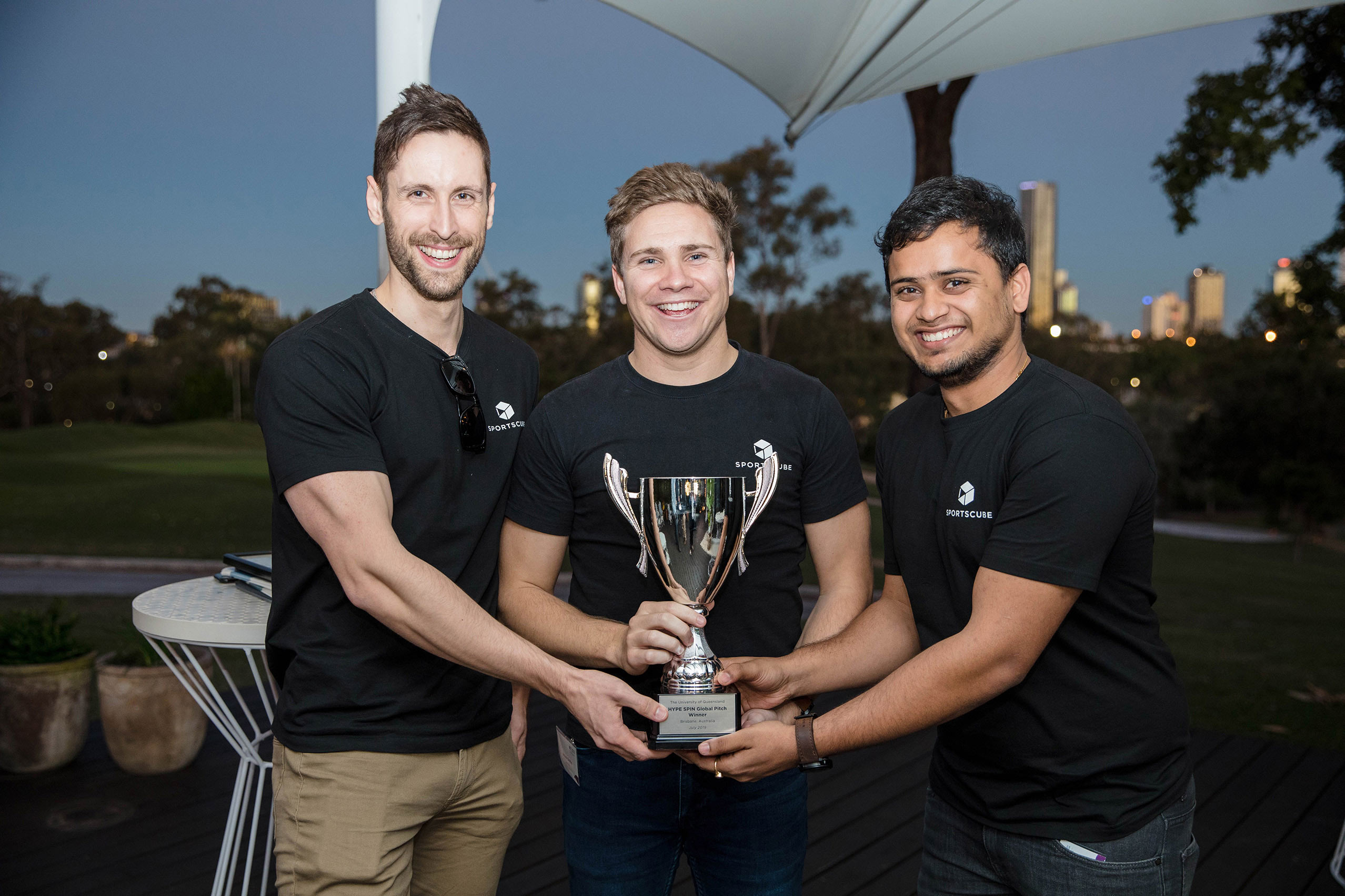 (left to right) HYPE UQ SPIN Global Sportstech Accelerator winners Tim McMurray, Jackson Dickfos and Lachlin Praed from SportsCube.