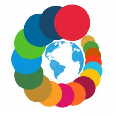 SDG Impactors' icon - the 17 Sustainable Development Goals are circling the earth with the words SDG Impactors underneath the image