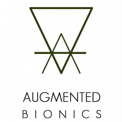 Augmented bionics logo upside down triangles with line through them