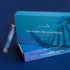 Blue Microba box with writing 'New insights. New possibilities.'