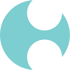 logo - a teal circle with two holes cut out of it.